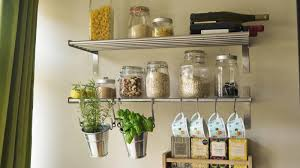 ... Kitchen Metal Wall Shelves White Colored Wall Hanger Bottom Simple  Design Glass Jar Ornament Metal Kitchen ...