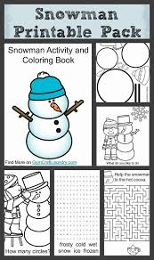 free snowman coloring and printable pack