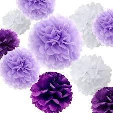 Diy Flower Balls Tissue Paper Set Of 18 Mixed Purple Lavender White Diy Tissue Paper Pom Poms Flower Ball Baby Shower Bridal Shower Wedding Engagement Birthday Party