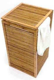 wooden clothes hamper wood slim open slats design bamboo laundry for the apartment and white double