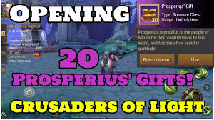 opening 20 prosperius gifts in crusaders of light crid games