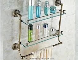 glass bathroom shelves with rail antique brass bathroom glass shelf wall mount bath toiletries holder bar glass bathroom shelves with rail