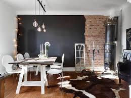 Wall Design Living Room Half Brick Half Black Wall In A Swedish Living Room Coco Lapine