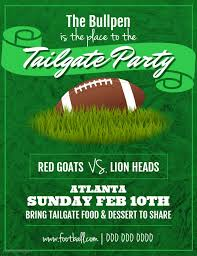 Green Party Flyer Green Football Tailgate Party Flyer Design Template Party