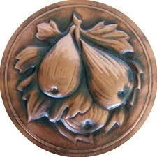 Portasale in rame e ceramica 18xh31 cm inserti in rame fichi