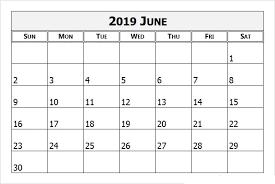 June 2019 Printable Calendar Templates Free Pdf Holidays Free