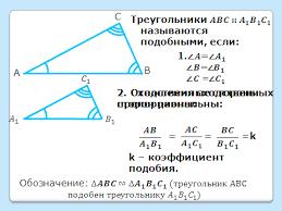 Урок по геометрии в классе Определение подобных треугольников   тмечены соответственно равные углы а рядом запись Треугольники