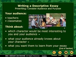 writing workshop writing a descriptive essay assignment prewriting 5 your audience writing a descriptive