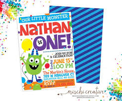 Lil Monster Birthday Invitations Lil Monster Birthday Invitations Fuzzy Cute Little Monster Party
