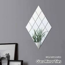 glass mirror tiles wall sticker square