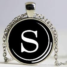 letter s necklace typewriter jewelry initial name glass cobachon pendant silver plated heart shaped pendant necklace gold necklace for men from