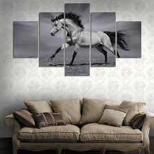 running horses black and white. Perfect White 5 PcsSet Framed HD Printed Running Horses Black And White Picture Wall  Print Poster For