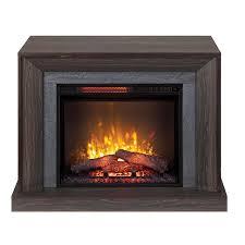smoked oak wood infrared quartz electric fireplace scott living