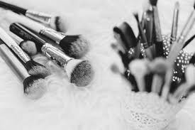 makeup brushes in b w free stock photo