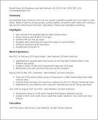 Resume Templates: Swim Instructor