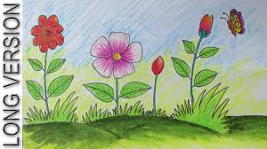 Small Picture How to Draw a Scenery with Flowers for Kids Long Version YouTube