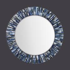 'BLUE ROULETTE' HANDMADE ROLLED ART GLASS MIRROR. '