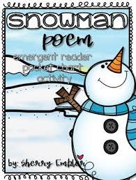 Snowman Poem Emergent Reader Pocket Chart Pieces