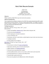 Bank Teller Resume Wit Entry Level Bank Teller Resume Stunning