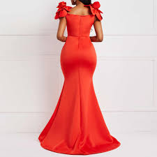 Dinner Dress Design Red Women Maxi Dress 2019 Summer Party Elegant Bodycon Mermaid Trumpet Long Dresses Flower Design Dinner Robe Sexy Female Dress