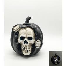 <b>Halloween</b> Ceramic <b>Pumpkin Skull</b> with Led 20cm Ea | Party ...