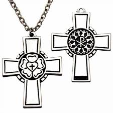 small pect cross necklace w luther s seal w chain pack of