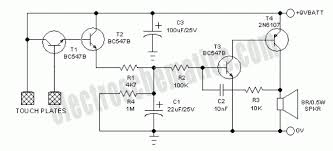 simple touch alarm circuit touch alarm circuit schematic