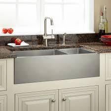 33 optimum 70 30 offset double bowl stainless steel farmhouse sink beveled