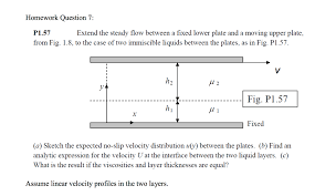 homework question 7 p1 57 extend the steady flow between a fixed lower plate