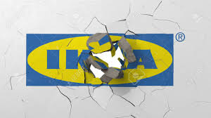 Ikea Logo Design Breaking Wall With Painted Logo Of Ikea Crisis Conceptual Editorial