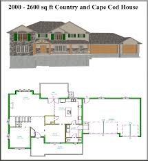 5 country and cape cod house plans from 2000 to 2600 sq ft