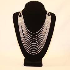silver crystal chandelier necklace