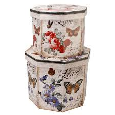 Decorative Storage Box Sets DECORATIVE STORAGE BOXES SET OF TWO BUTTERFLY LOVE OCTAGAN 17
