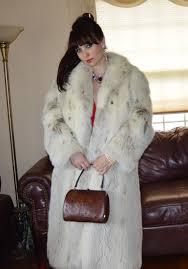 royal genuine fox fur coat arctic fox fur thick full pelt full length fox fur coat dyed lynx look womens medium large 8 10 12 vintage veronika