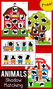free shadow matching printables for toddlers and preschoolers featuring animal themes farm zoo train