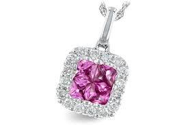 ak n7649 1 625 lady s 14k white gold genuine pink sapphire and diamond pendant
