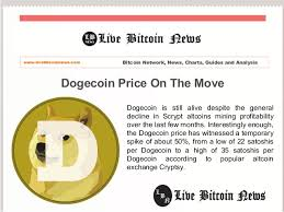 Dogecoin Price On The Move Live Bitcoin News