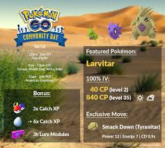 Info Chart For Larvitar Community Day If Smack Down Is