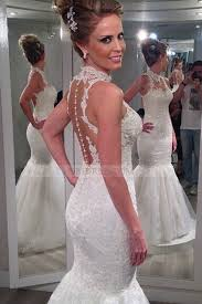 lace high neck court train ivory sheer back trumpet mermaid