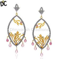 get quality jewelry 22k yellow gold plated cz and green tourmaline designer chandelier earrings statement fashion