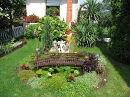 Lawn & Garden:Attractive Natural Small Backyard Home Garden Design With  Fish Pond And Wooden