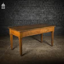 1920 S Solid Oak Office Table With Single Drawer1920 S Solid Oak Office Table With Single Drawer