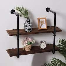 industrial diy iron pipe shelf wall