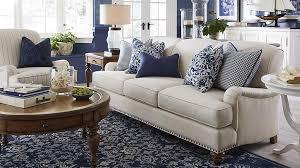 Taupe Sofa With Navyivory Rug