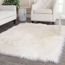 image of faux sheepskin rug area