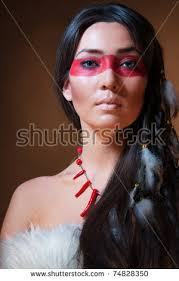 american indian with paint face camouflage studio photo with professional makeup 74828350
