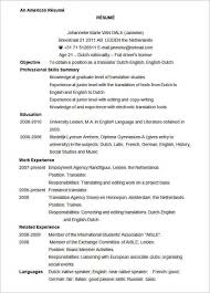 American Resume Template Microsoft Word Resume Template 99 Free Samples  Examples Printable
