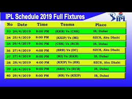 Ipl T20 2019 Fixtures Match Schedule Time Table