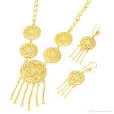 2019 dubai women wedding necklace earrings jewelry set 22k gold african eritrea ethiopian arabic oman wedding set from nanvsfeng2007 11 06 dhgate