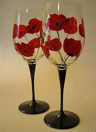 view in gallery poppy painted wine gl